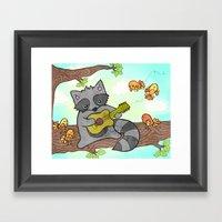 Serenading Raccoon Framed Art Print