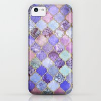 iPhone 5c Cases featuring Royal Purple, Mauve & Indigo Decorative Moroccan Tile Pattern by micklyn