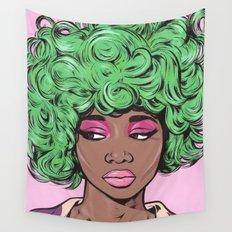 Green Kawaii Comic Girl Wall Tapestry