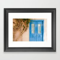 Blue Door In Chania, Cre… Framed Art Print