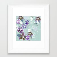 Summer blossom, blue and purple Framed Art Print