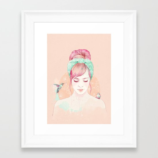 Pink hair lady Framed Art Print