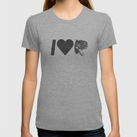 I Love Dinosaurs Womens Fitted Tee Tri-Grey SMALL
