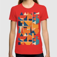 KakuTres Womens Fitted Tee Red SMALL