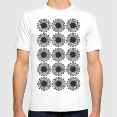 vintage flowers black SMALL Mens Fitted Tee White