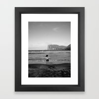 Dancing with the ocean Framed Art Print