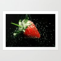 Strawberry Showered in Sugar! Art Print