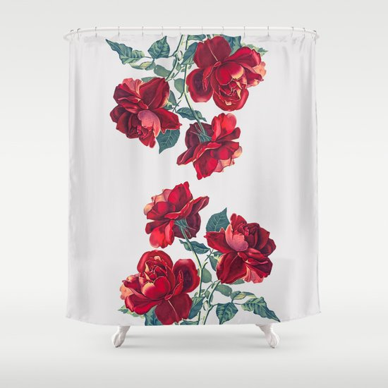 Red Roses Shower Curtain by Heart Of Hearts Designs | Society6