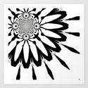 White & Black Modern Flower Art Print
