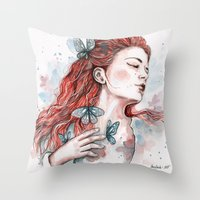 Girl With A Butterfly, W… Throw Pillow