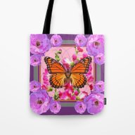 Tote Bag featuring Puce-Purple-Pink Floral … by SharlesArt