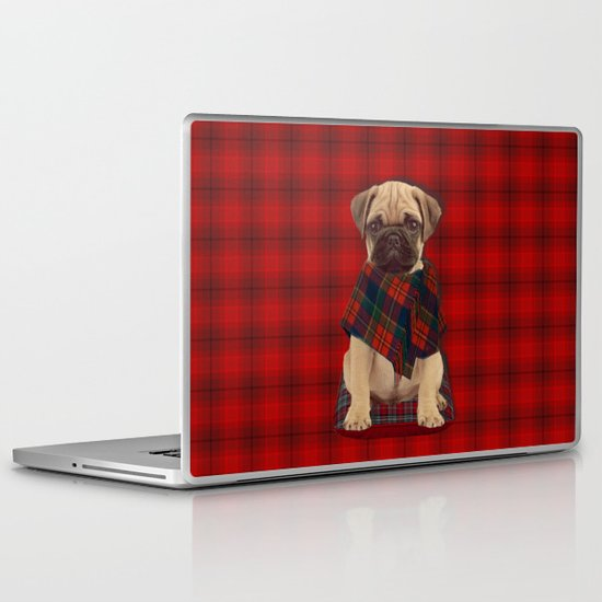 The Plaid Poncho'ed Pug Laptop & iPad Skin