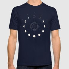 Moon Phases Mens Fitted Tee Navy SMALL
