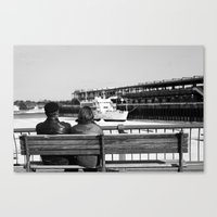 Couple by the Saint Lawrence. Montreal. 2013.  Canvas Print