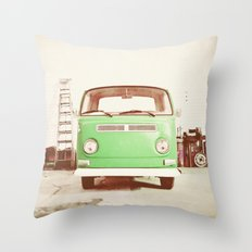 Vintage Volkswagen Bus (Green Edition) Throw Pillow