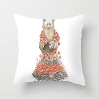 The Bear and the Poppies Throw Pillow