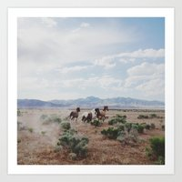 horse Art Prints featuring Running Horses by Kevin Russ