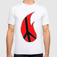 Flaming Peace Mens Fitted Tee Ash Grey SMALL