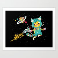 Kitty Cat Space Captain Art Print