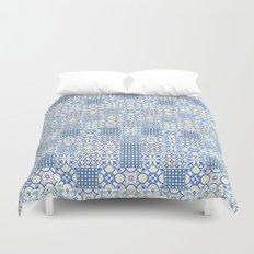 Blue Floor Tile Mashup Duvet Cover