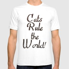 Cats Rule the World White SMALL Mens Fitted Tee