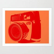 Orange Braun Camera Art Print