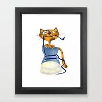 Cat Slipper Framed Art Print