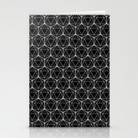 Icosahedron Pattern Black Stationery Cards