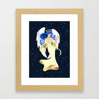 Blue Hair Angel Framed Art Print