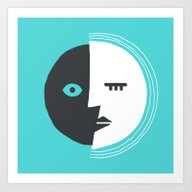 Two-Faced Moon Art Print