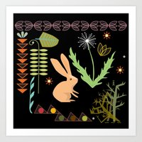 Bunny On Black Art Print