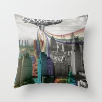 Cows For Rainbows Throw Pillow