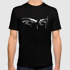 Doubt eyes bw SMALL Black Mens Fitted Tee