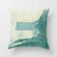 Massachusetts Map Blue V… Throw Pillow
