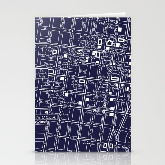 Vintage LA Map Stationery Card