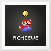 mario Art Prints featuring Mario by eARTh