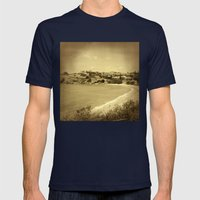 Bay and beach side suburb in sepia Mens Fitted Tee Navy SMALL
