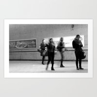 Waiting in a Montreal metro station.  Art Print
