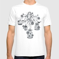 Bird Cage Chandelier Mens Fitted Tee White SMALL