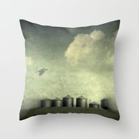 Silos Of The Prairies Throw Pillow
