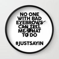 Bad Eyebrows /// www.pencilmeinstationery.com Wall Clock