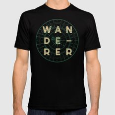 WANDERER Black Mens Fitted Tee SMALL