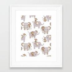 Monkey and elephant Framed Art Print