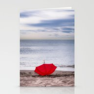 Red Umbrella At The Beac… Stationery Cards