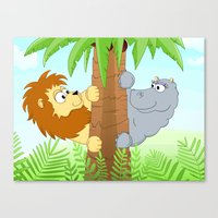 Hiding hippo and lion Canvas Print
