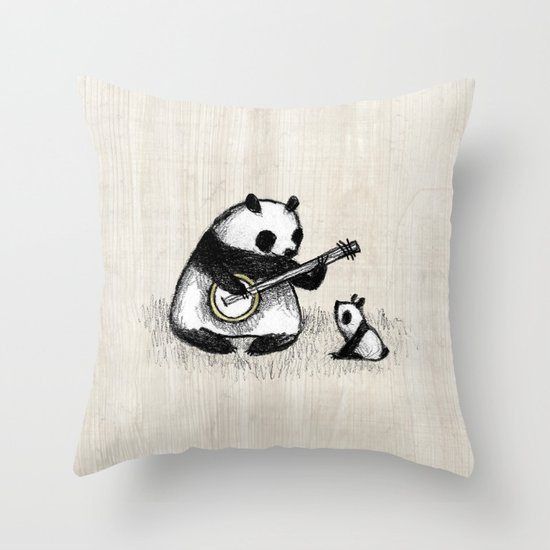 Banjo Panda Throw Pillow