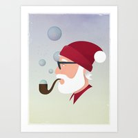 Soap Bubble Santa Art Print
