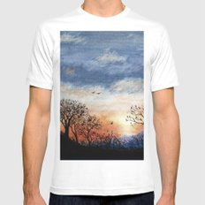 Winter Silhouette Sunset Mens Fitted Tee White SMALL