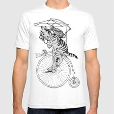 Steam Punk Tabby Cat SMALL Mens Fitted Tee White
