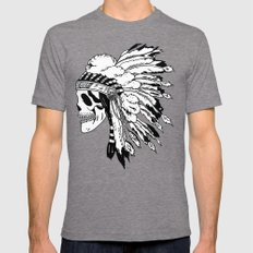 Black and White Native American  Mens Fitted Tee Tri-Grey SMALL